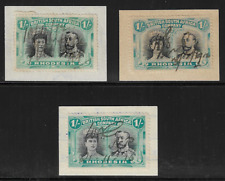 Rhodesia BSAC 1910 Double Heads 1/- Revenues on Piece x3 Black & Blue Used