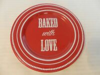 """Baked With Love Red & White Ceramic Cookie Dessert Plate from Avon 7.5"""" Diameter"""
