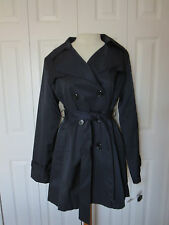 NWT DKNY BLACK COTTON WATER RESISTENT DOUBLE BREASTED COAT TRENCH JACKET PL