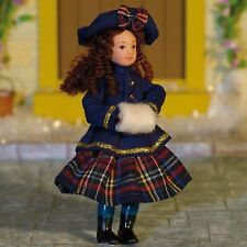 """1/12TH  DOLLS HOUSE  """" VICTORIAN""""  GIRL  IN  BLUE JACKET AND TARTAN SKIRT"""