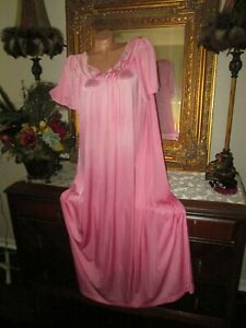 Vintage Pink Nylon Shadowline Long Nightgown gown dress lingerie size Large