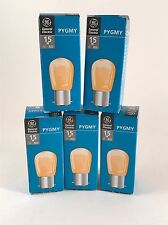 Pack of 5 Genuine GE Pygmy Bulbs YELLOW 15w B22 BC 28mm 240v