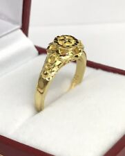 24K Solid Pure Gold Shiny Flower Ring. 3.90 Grams. Size 6
