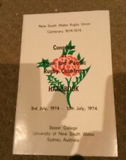 NSW Rugby union centenary 1874-1974 Congress of Asia and Pacific rugby countries