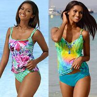 Women Strappy Tankini Swimsuit Swimwear Padded Bikini Beachwear Swimming Costume