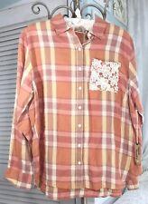 NEW ~ Plus Size 2X Orange Gold Plaid Lace Crochet Button Top Shirt Blouse $58