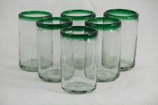 Green Rim Mexican Juice Glasses Hand Blown set 6 Glassware Mexico Glass