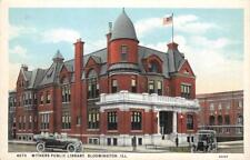 Withers Public Library, Bloomington, Illinois ca 1920s Vintage Postcard