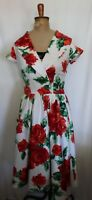 PINUP COUTURE ~ White Red Roses Print 50's Collar Cap Sleeve Rockabilly Dress M