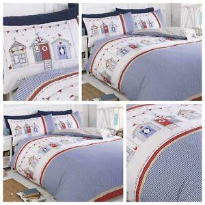 Bedding Heaven® Reversible Beach Hut Check Duvet Cover. Stripe reverse, Seaside