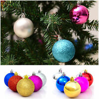 12PCS Glitter Christmas Baubles Xmas Tree Ornament Ball Decoration Home Party