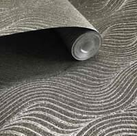 MICA Sparkle glitter Vermiculite Charcoal Grey Dark 3D Modern Natural Wallpaper
