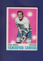 Paul Popiel 1970-71 O-PEE-CHEE OPC Hockey #122 (EX) Vancouver Canucks