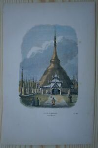 1843 Breton print SHWEDAGON PAGODA, YANGON / RANGOON, MYANMAR / BURMA (#19)