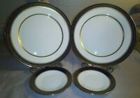 4PCS Lenox Oxford Bone China Cortina 2 Dinner Plates 2 Saucers Cobalt Blue Gold