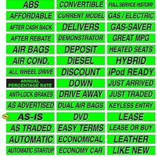 "Auto Dealer Windshield Stickers Slogans Chartreuse 5 packs 15"" Mix and Match"