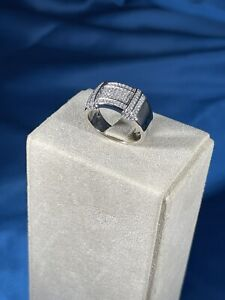 Unique Design 925 Sterling Silver Ring Gents Full Cubic Zirconia