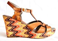 MF - High Brown Leather Sandals - Multicolour Wedges - EU 40/UK 7 - Immaculate