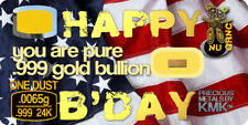 Greeting card with One Dust of Real 24K Gold .999 Bullion Bar on MICRO Card