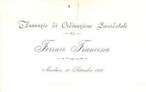 ANNUNZIO DI ORDINAZIONE SACERDOTALE FERRARO FRANCESCO MONDOVI' 1896 1-28
