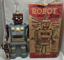 Vintage 50s Marx ROBOT AND SON Battery Operated Gray/Burgandy Variant Space Toy