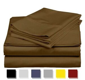 """Bed Sheet Set Pure Cotton High Thread Count Taupe Color 12"""" TO 15"""" Deep 7 Size"""