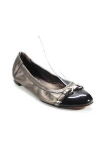 Attilio Giusti Leombruni Womens Metallic Cap Toe Ballet Flats Silver Size 38 8