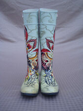 Christian Audigier Los Angeles Rubber Floral Silver Metal Women Rain Boots 5 5,5
