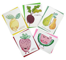 Cute Puns Illustrated Fruit and Veggie All Occassion Set of 5 Greeting Cards