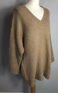 F&F Size 12 Oatmeal V Neck Thick Jumper Pullover 80% Alpaca Wool Winter Autumn