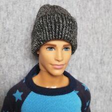 "Handmade doll grey beanie hat for 12"" Ken dolls"