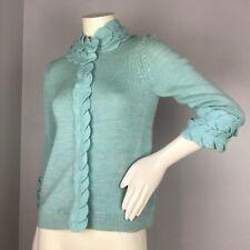 Moth Anthropologie Womens Blue Leaf Trim Wool Cardigan Sweater Size S