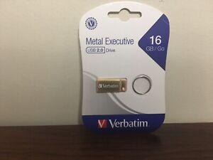 Verbatim 16GB/GO Metal Executive USB 2.0 Flash Drive - Gold - New Factory-Sealed
