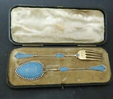 Antique Sterling Silver Christening Set Liberty of London Cased and Enamelled