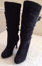 """Wild Diva Black Boots with Heels and Buckles Mid Calf Length 3.5"""" Heels Size 8.5"""