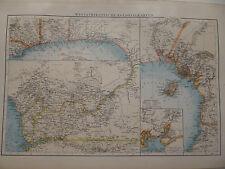 Landkarte mit westafrikanischen Kolonialkarten, Afrika,Lithographie Andrees 1897