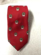 Cape Cod Men's Necktie Novelty Red Christmas Green Wreath EUC