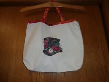 Artistic TOTE BAG - Mad Hatter & Poe's Raven embroidery - unlined - Custom made