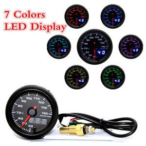 """2"""" 52mm 7 Colors Backlit Digital Display Car Water Temperature Gauge With Sensor"""