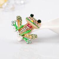 Fashion Crystal Rhinestone Frog Animals Enamel Brooch Pin Womens Jewellery YU