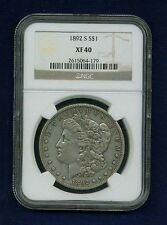 U.S.  1892-S  MORGAN SILVER DOLLAR, EXTREMELY FINE, NGC CERTIFIED XF-40