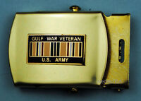 ARMY GULF WAR VETERAN  black Web Belt & Brass Buckle USA244