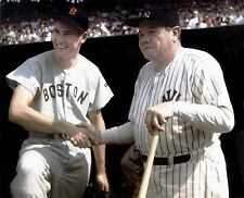 TED WILLIAMS AND BABE RUTH  RED SOX YANKEES ALLTIME LEGENDS COLOR  8x10 nice !!