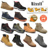 MEN GROUNDWORK LEATHER SAFETY WORK BOOTS STEEL TOE CAP SHOES TRAINER HIKER BLACK