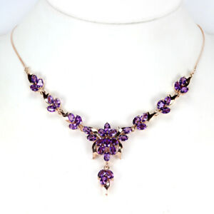"""NATURAL 34 PCS. AAA PURPLE AMETHYST OVAL STERLING 925 SILVER NECKLACE 18.5"""""""