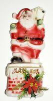 Vintage Santa Claus Hanging Mailbox Blow Mold 1960's Christmas Plastic XMAS