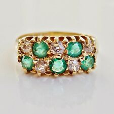 Stunning Edwardian 18ct Gold Emerald & Diamond set Double Row Ring c1907