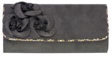 Ruby Shoo Kailey Envelope Clutch Bag Floral Corsage Olive / Wine