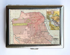 San Francisco Cigarette Case Wallet Business Card Holder id case atlas map calif