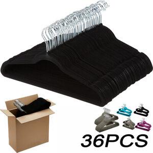 Flocked Coat Clothes Hanger Velvet Shirt Trouser Pant Skirt Hangers Non-Slip UK